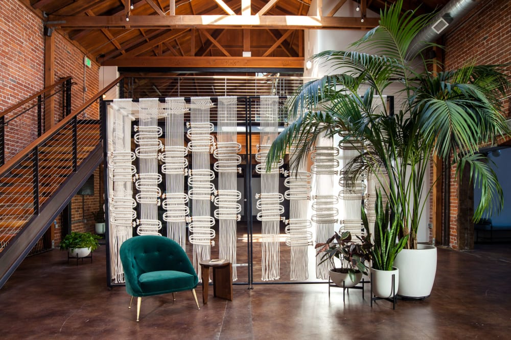 White abstract woven macrame room divider