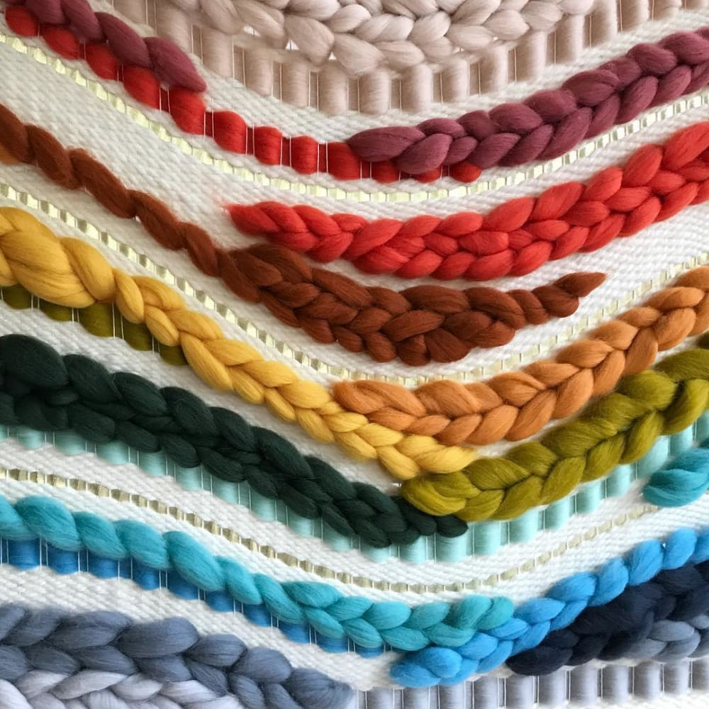 Rainbow Weaving  Macrame Wall Hanging detail