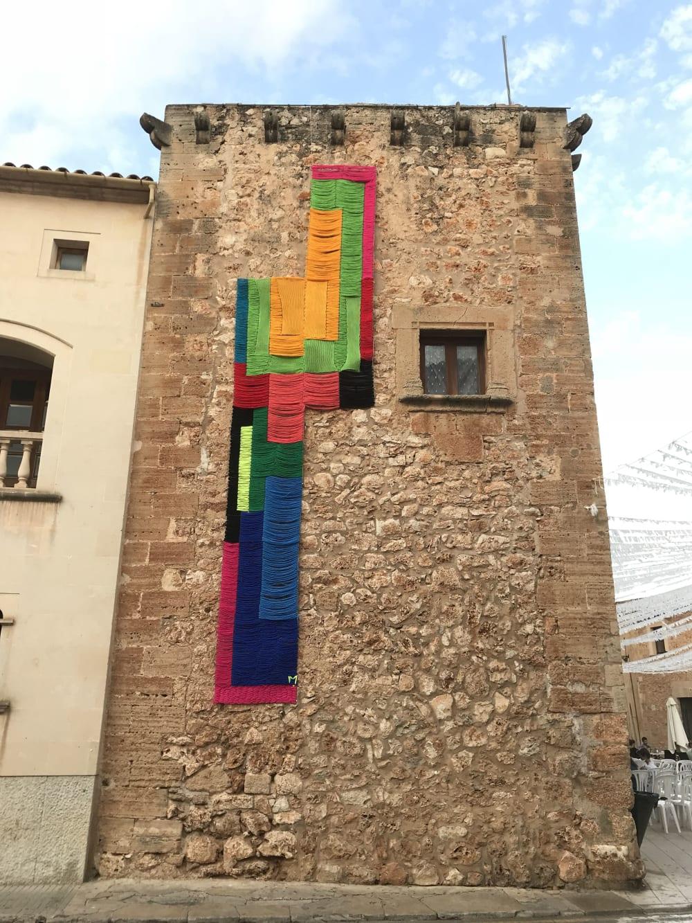 Chromatic block textile street mural