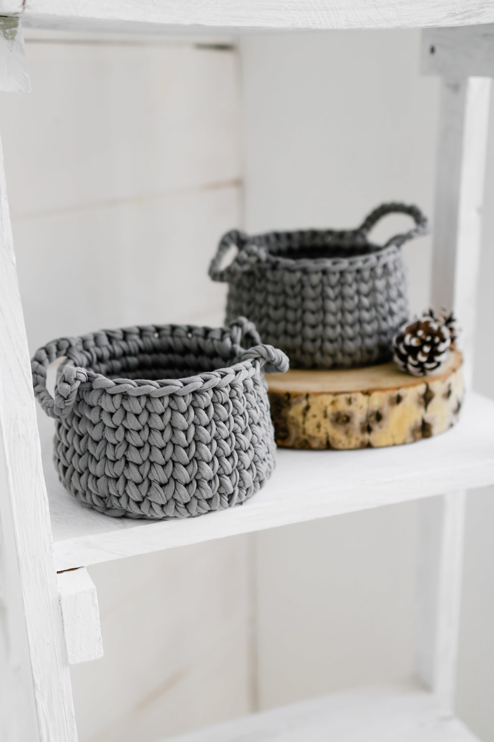 Small grey knit baskets