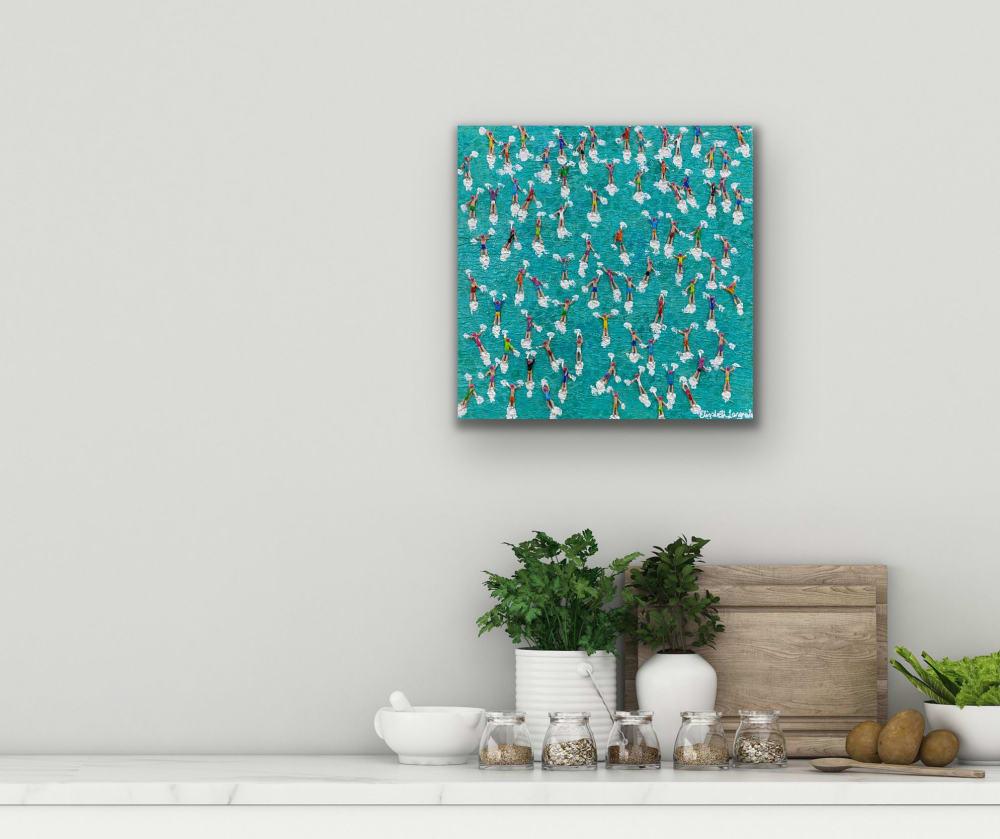 People swimming in ocean painting
