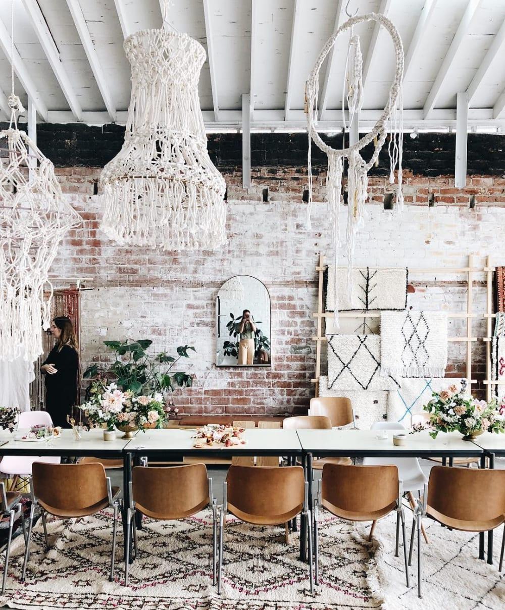 White Macrame chandelier installation