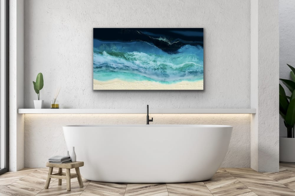 Waves on beach wall art