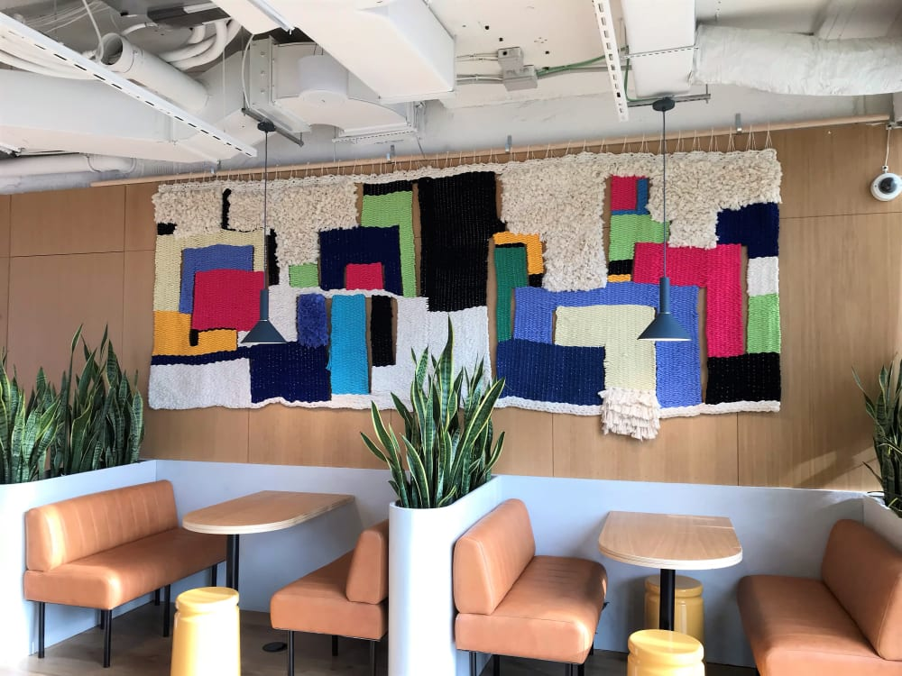 Colorblock textile wall hanging