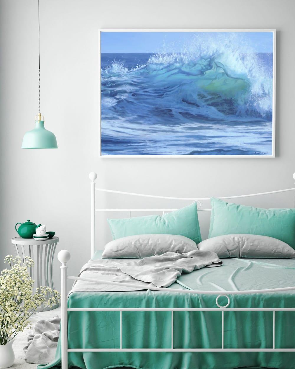 Crashing waves ocean painting