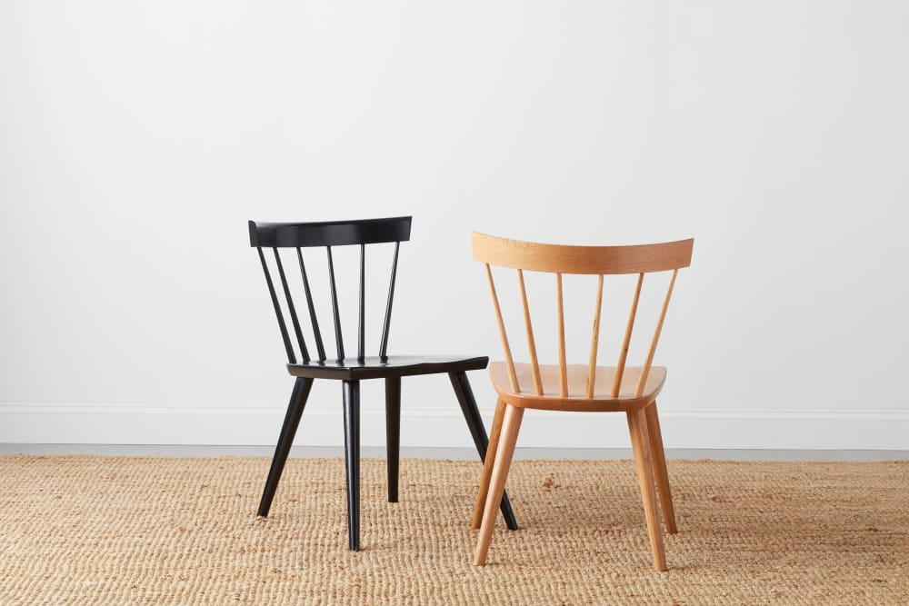 Dark and light wood dining chairs