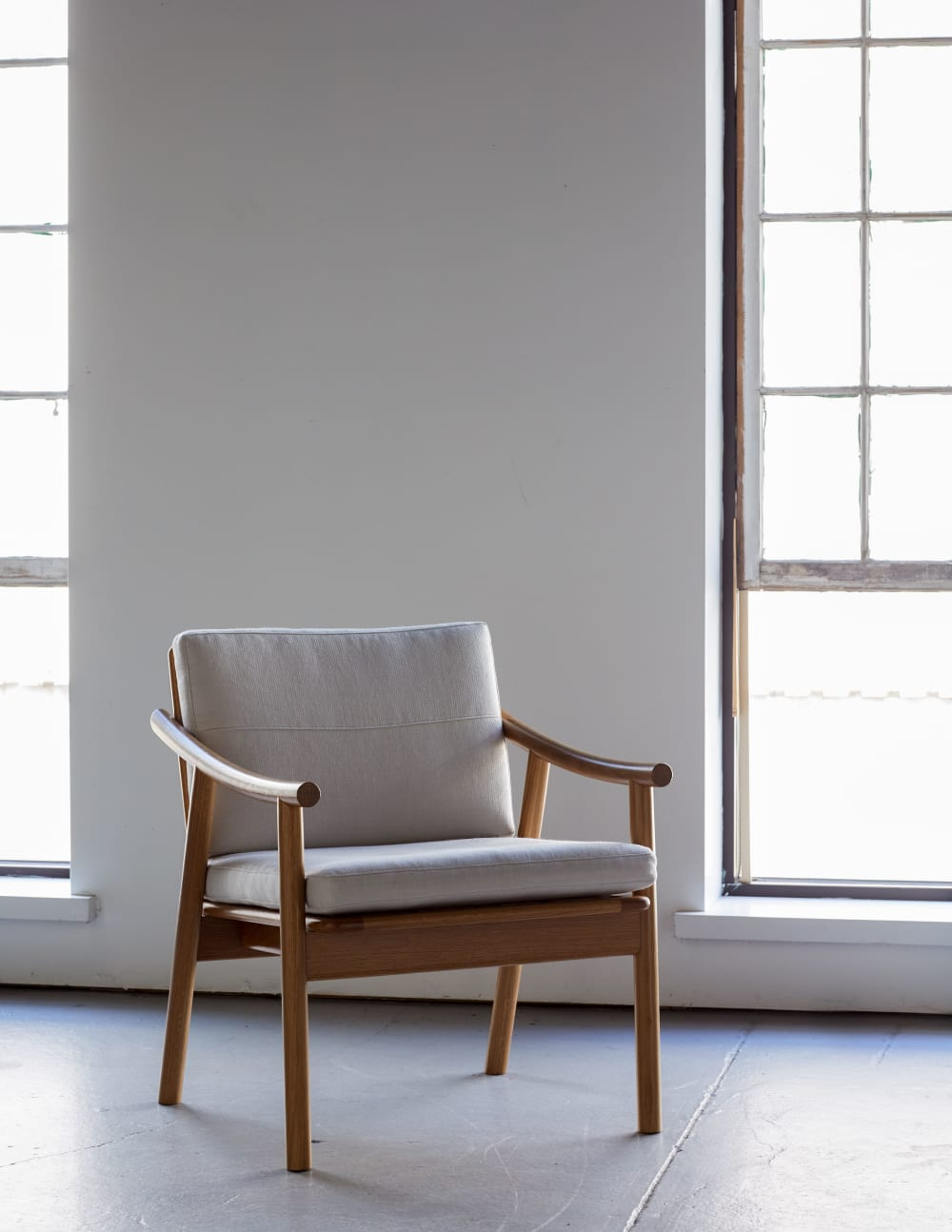 Modern chair with natural wood