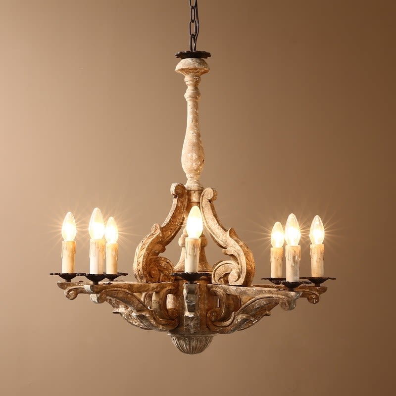 Wooden Chandelier Opulent faux candles Beige Black Chain Accent Traditional Style