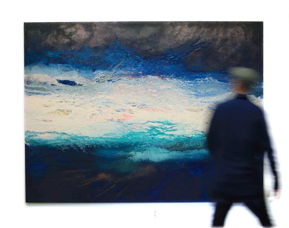 Dark blue contrast ocean painting