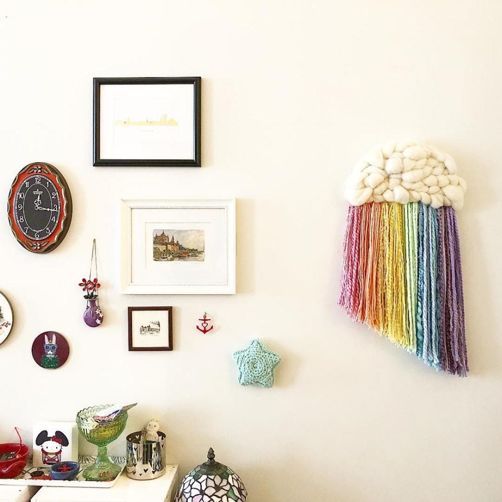 rainbow cloud macrame wall art