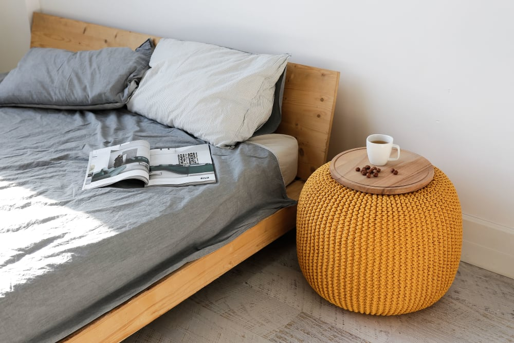 Mustard knit floor pouf