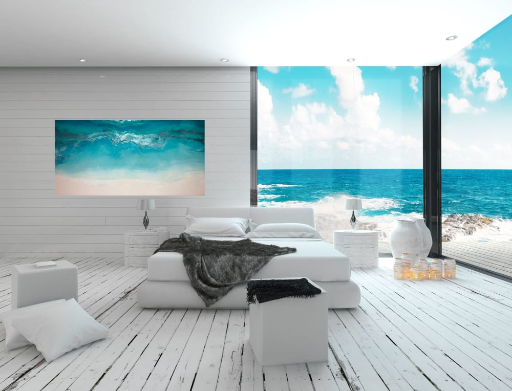 Waves on beach painting