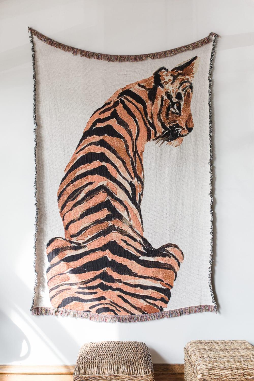 tiger watercolor textile wall hanging