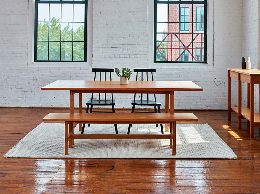 Hand crafted wood dining table with bench