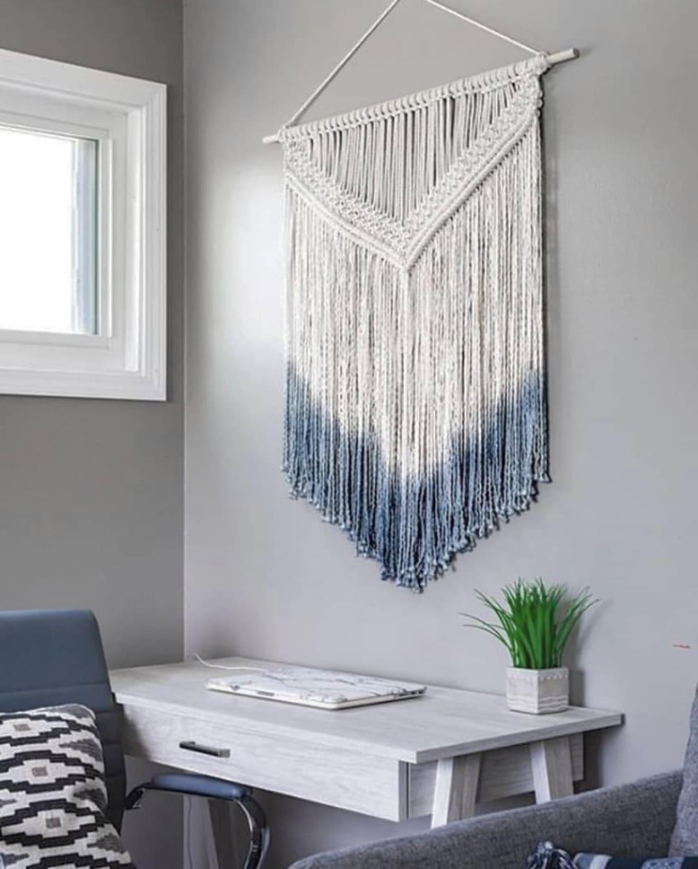 large blue dip dye macrame wall hanging