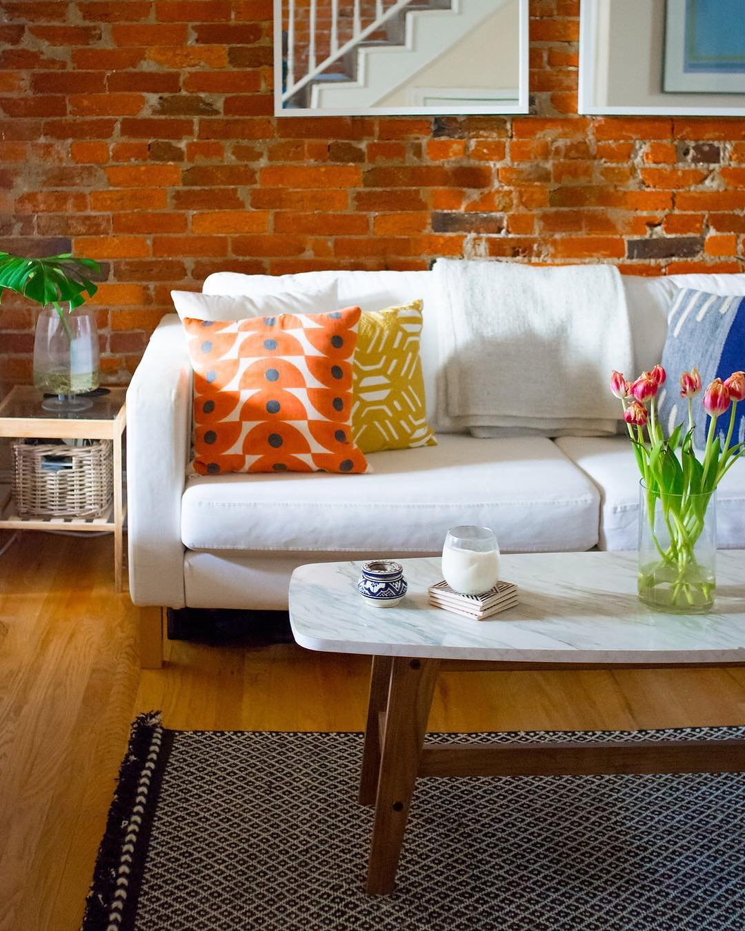 Orange and polka dot patterned pillows