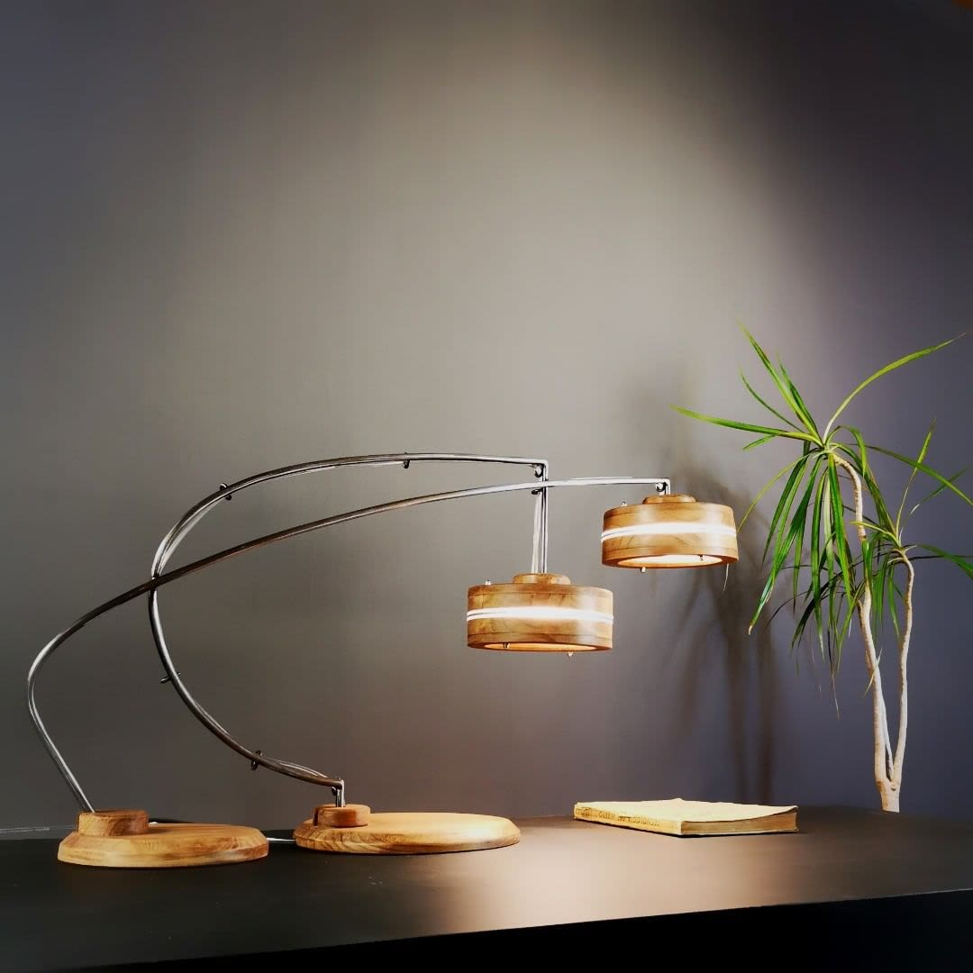 Natural wood desk lamps