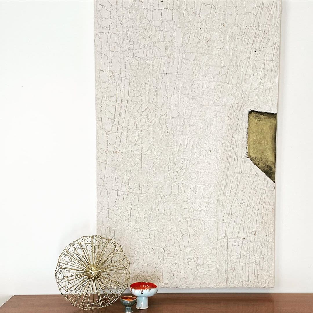 Textured ivory abstract painting