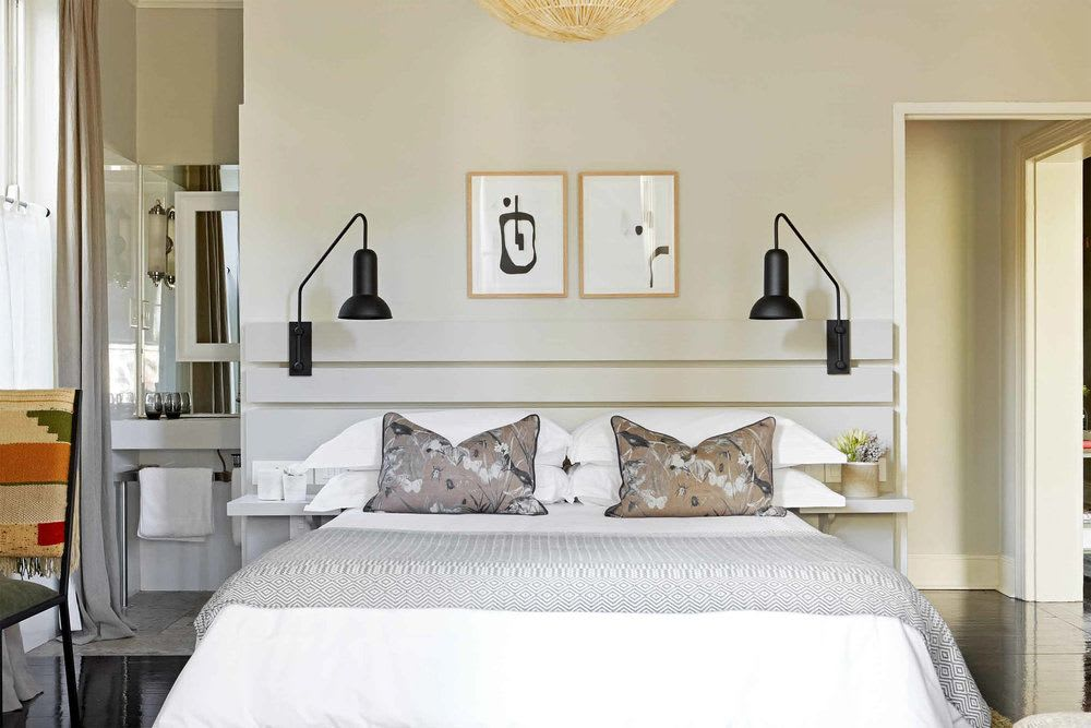 Pair of black wall mounted bedroom lamps