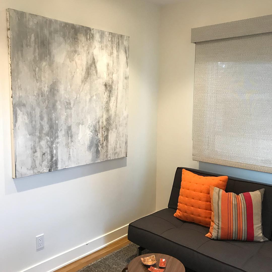 Light grey abstract painting