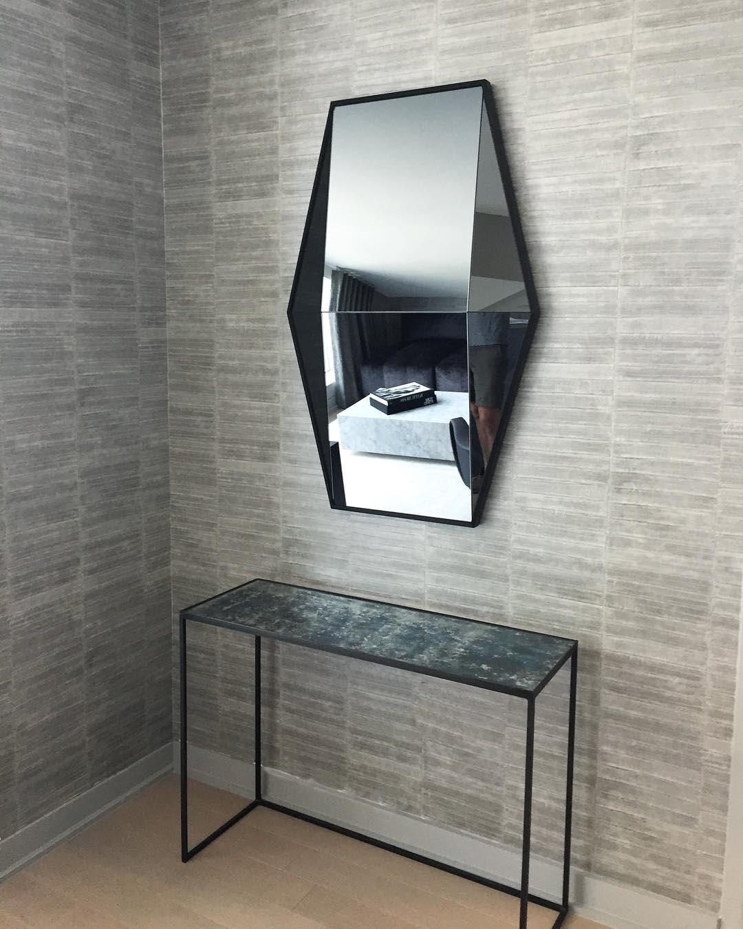 Geometric hanging mirror