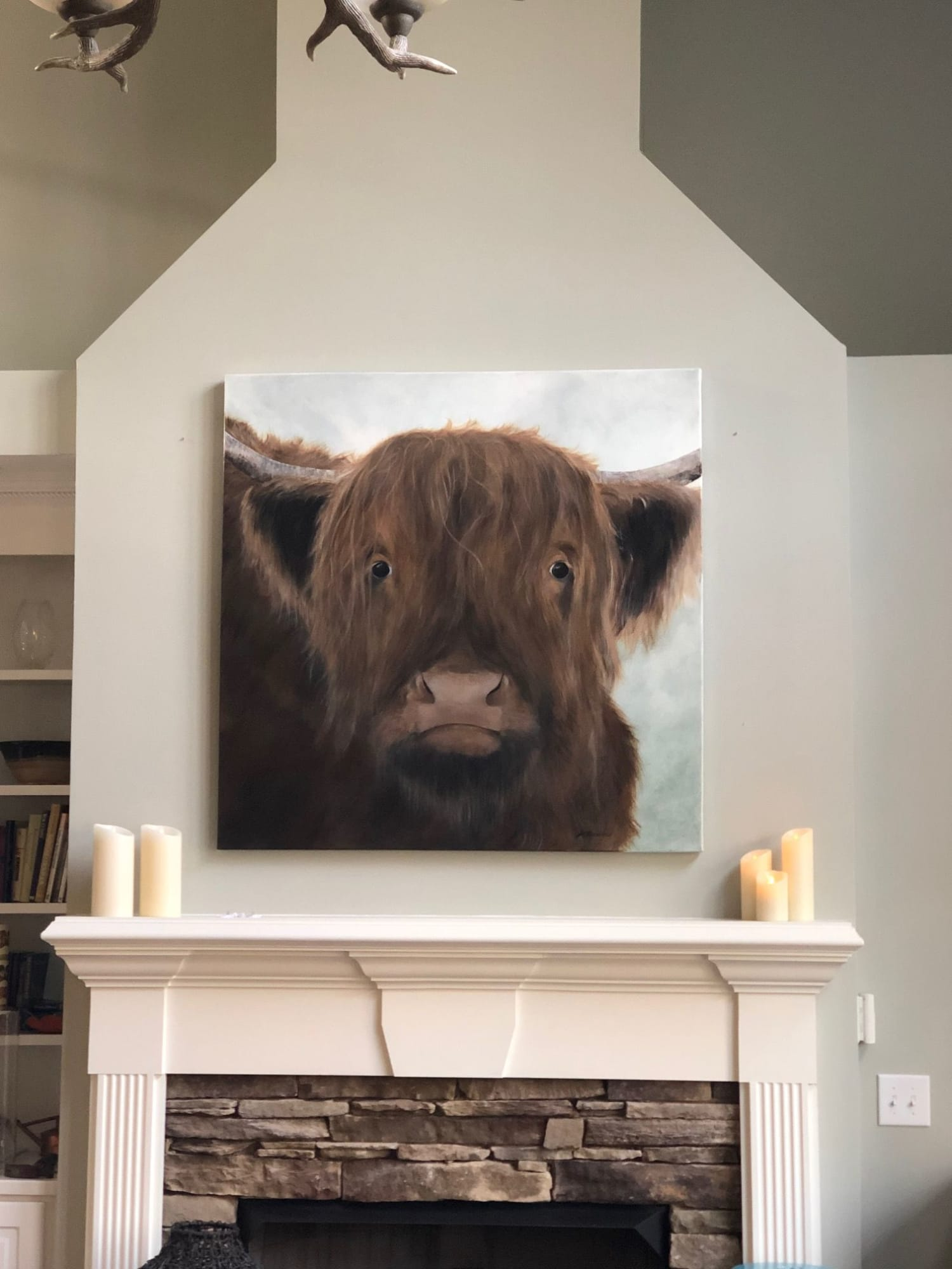 Brown Bull Staring Through Canvas with misty Background