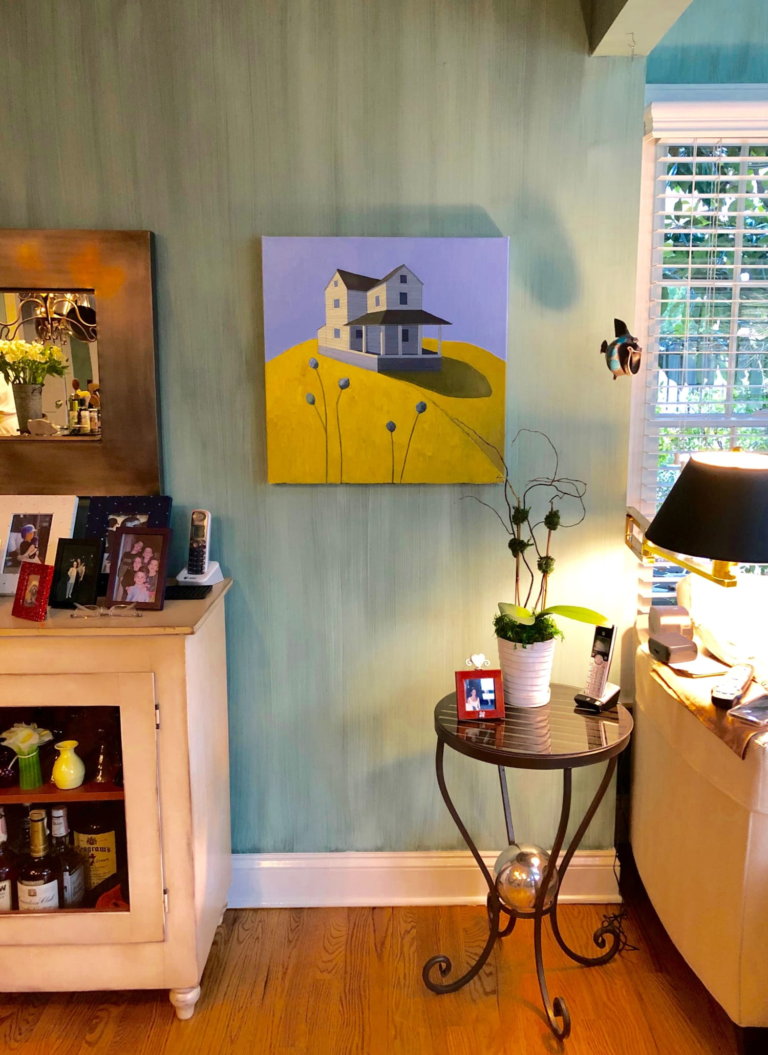 White farmhouse on yellow hill oil painting