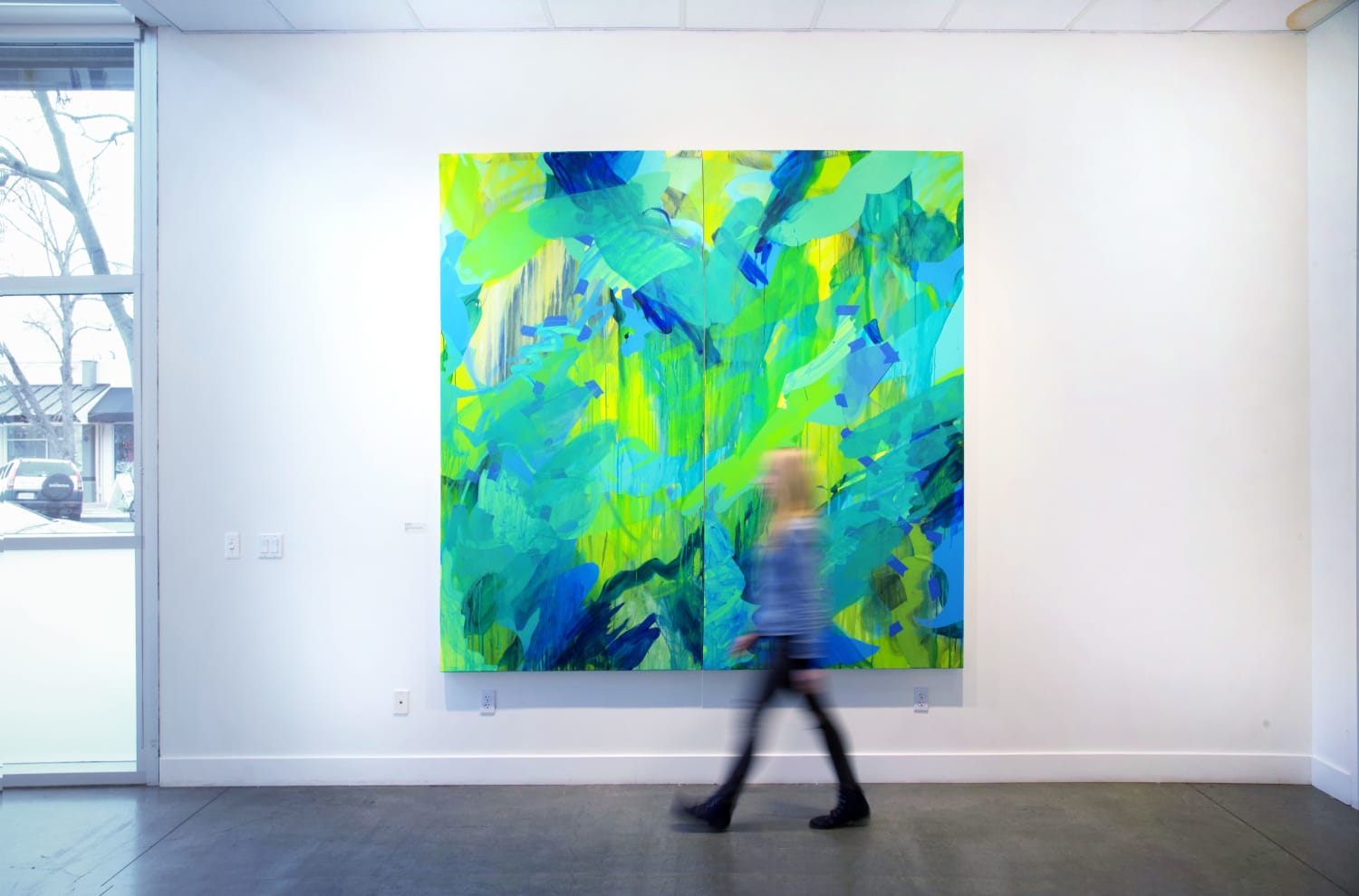 Neon green and yellow abstract diptych