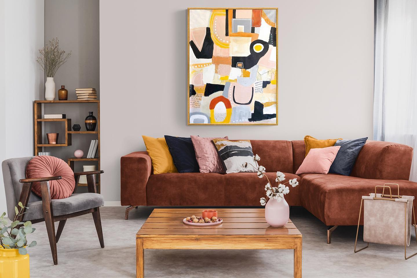 Abstract Painting Organic Shapes Yellow Black White Red Beige