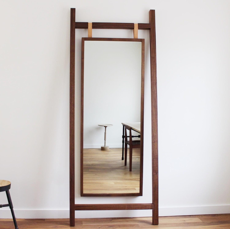 Modern wood frame oversized mirror