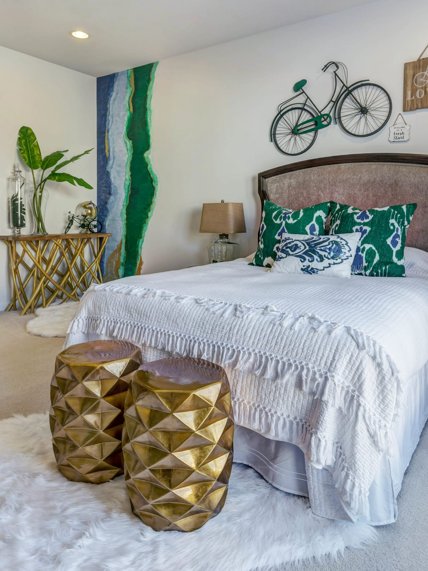 Bedroom Multiple Textures Blue Green Peacock Colors Gold Accent Hardware