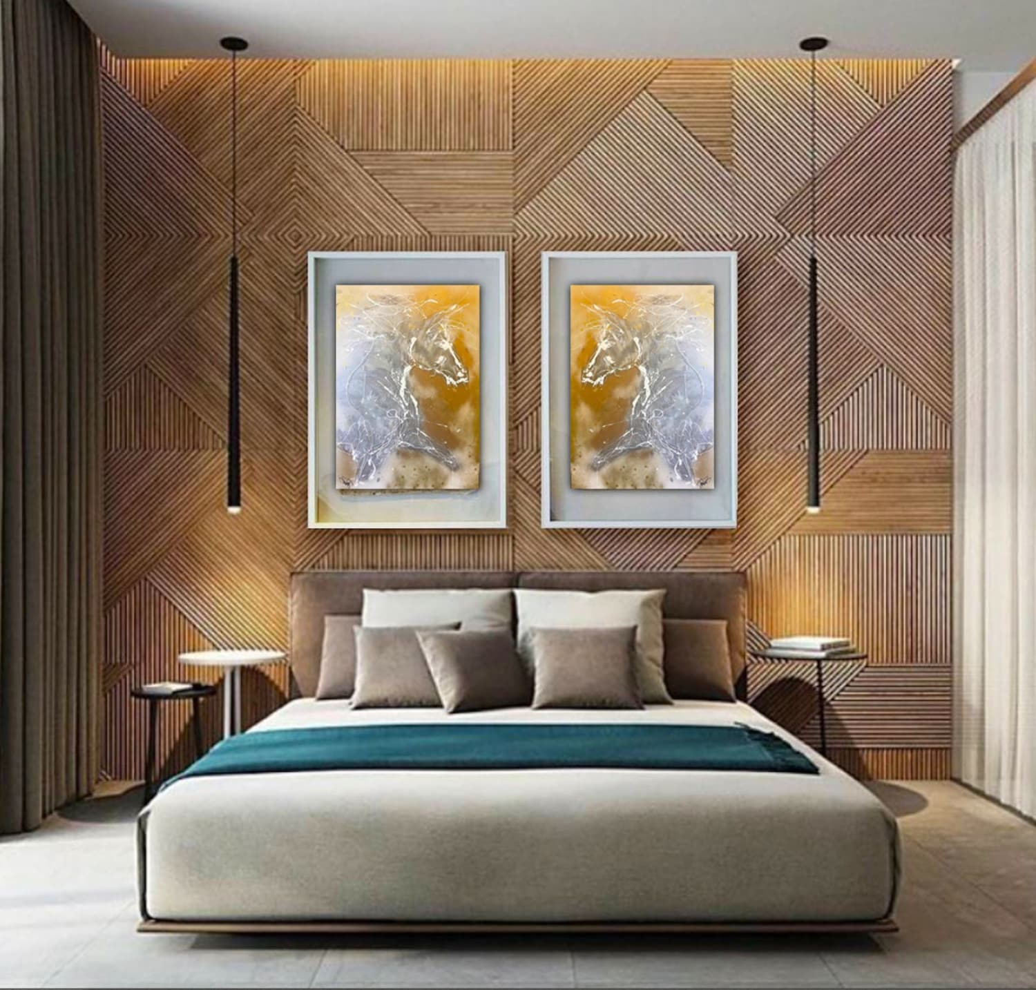 two gold horse paintings in modern bedroom