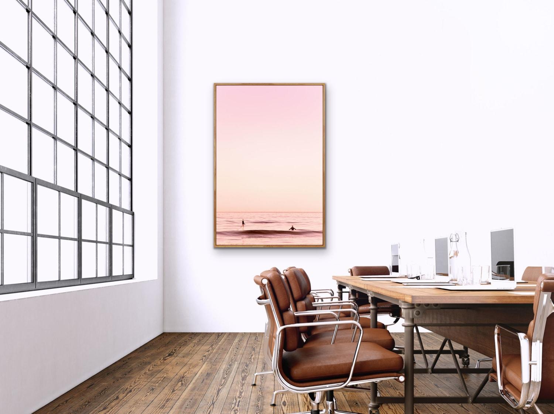 Pastel Purple and Orange Ocean Scene with Gradient Sky and Pink Tones