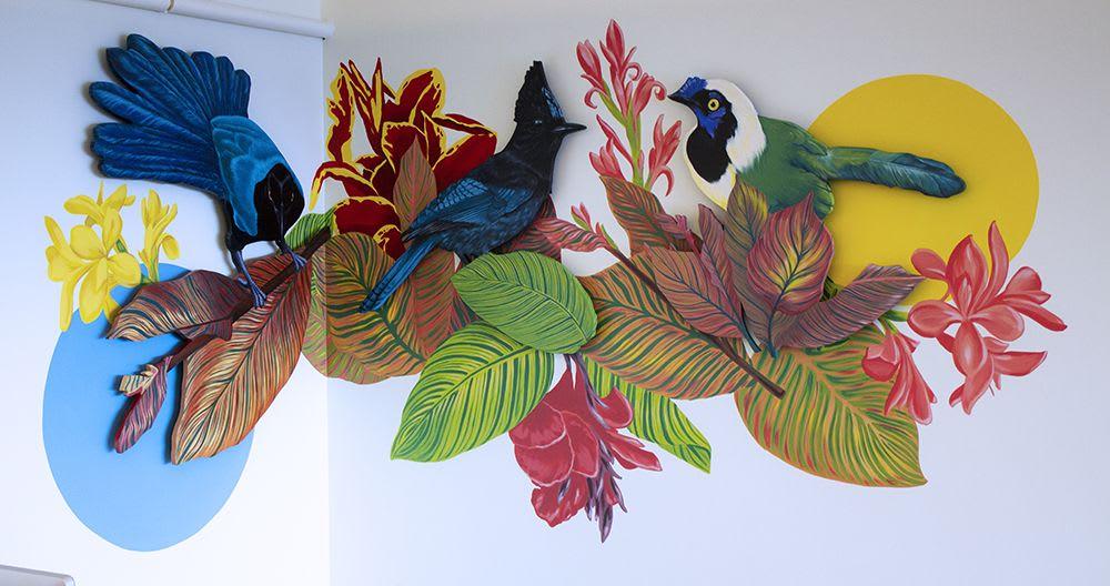 Multicolor jays mural