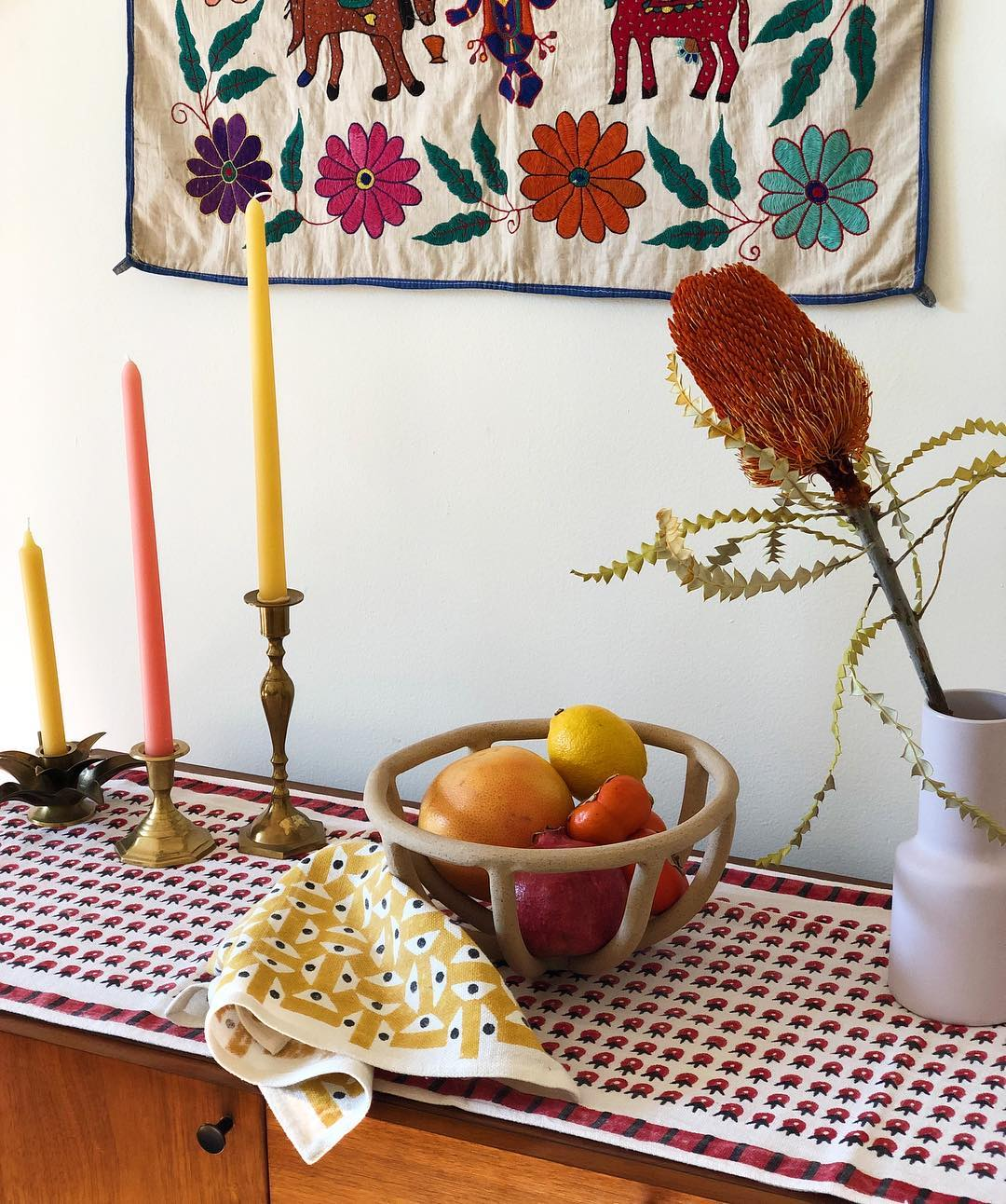 Yellow patterned table runner
