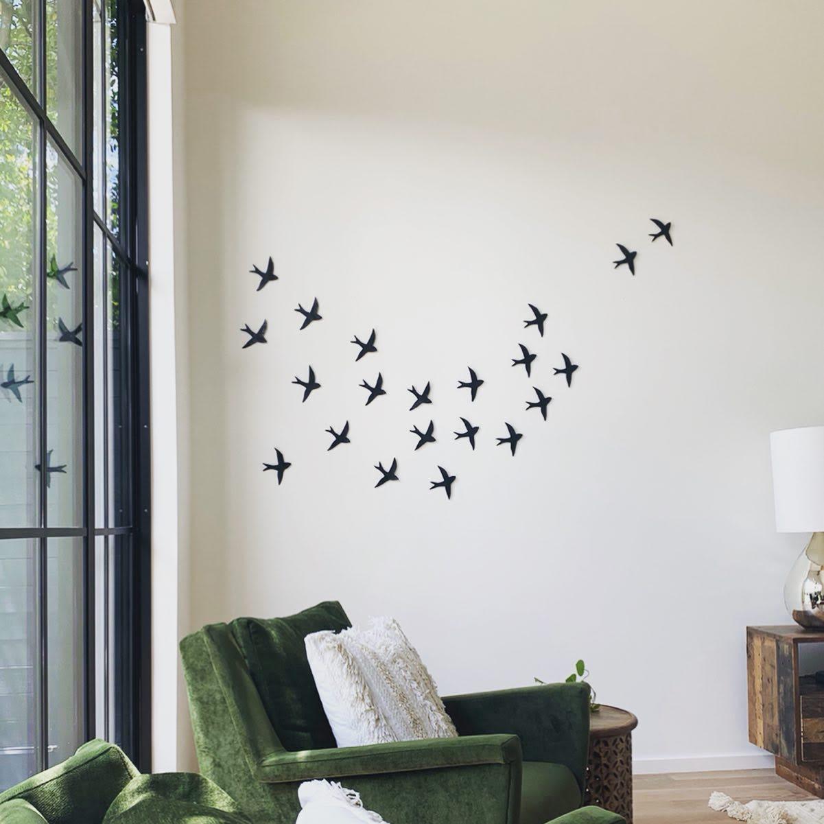 Black Swallow Bird Ceramic Wall Installation