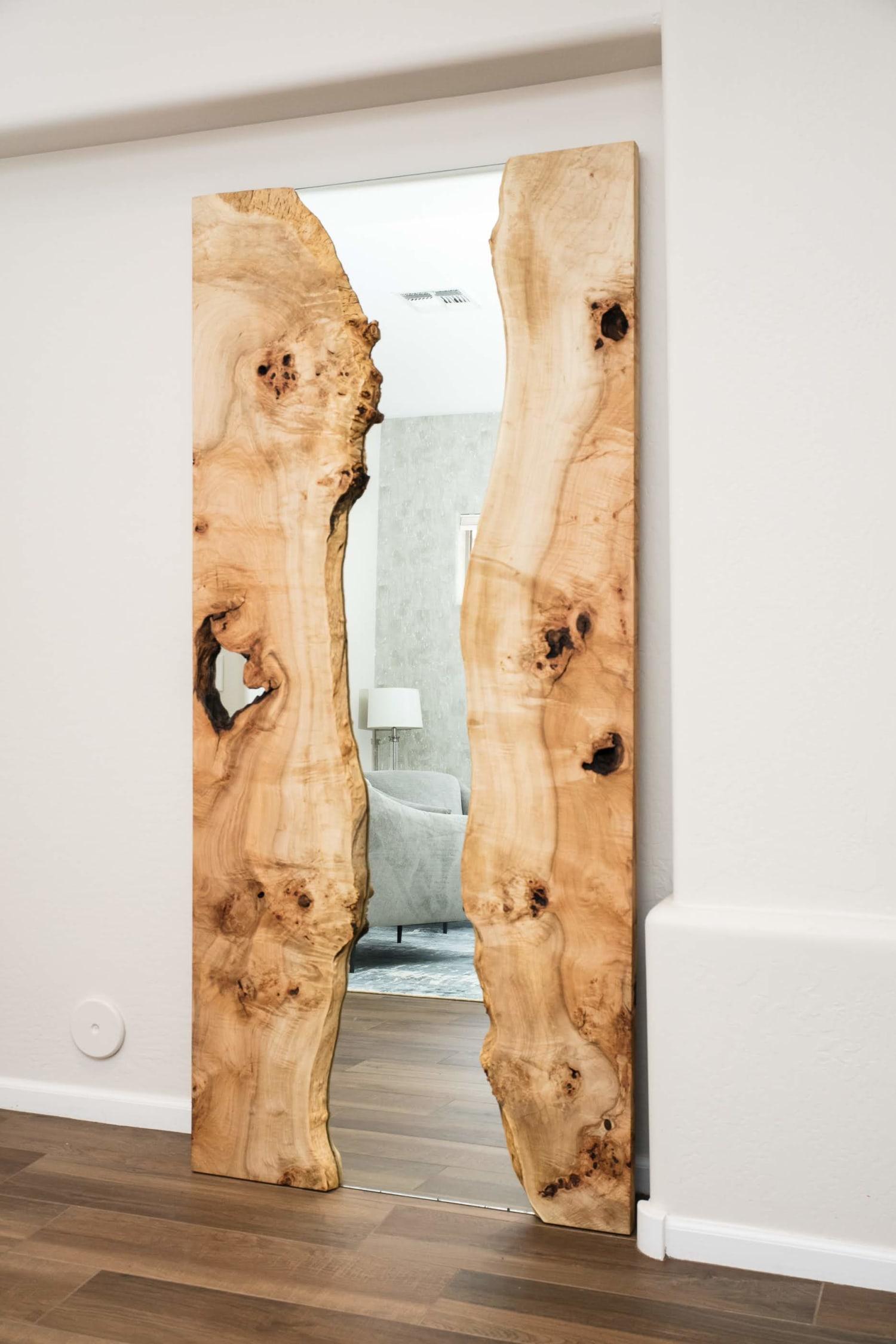 River design wooden mirror