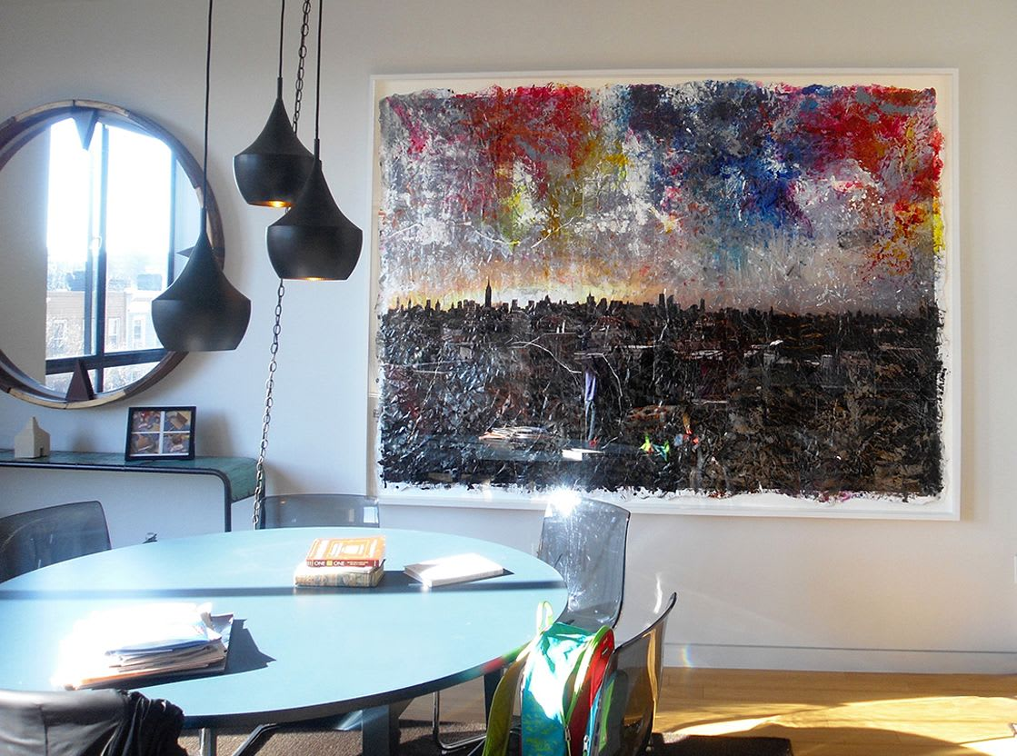 Black and rainbow abstract city scape painting