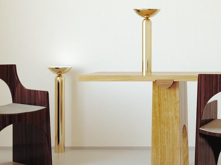 Gold floor and desk lighting
