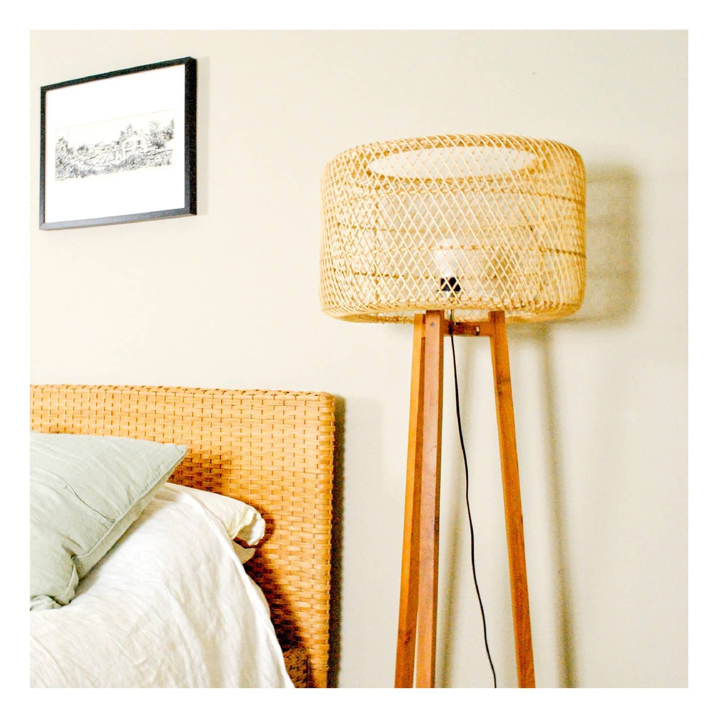 Bamboo cage floor lamp