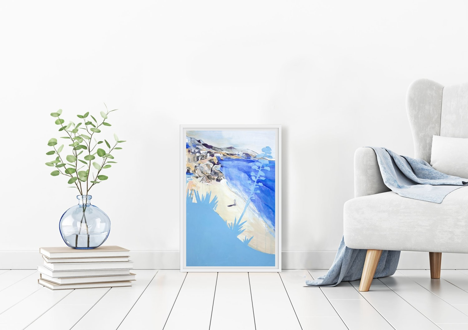 Painting of ocean and beach