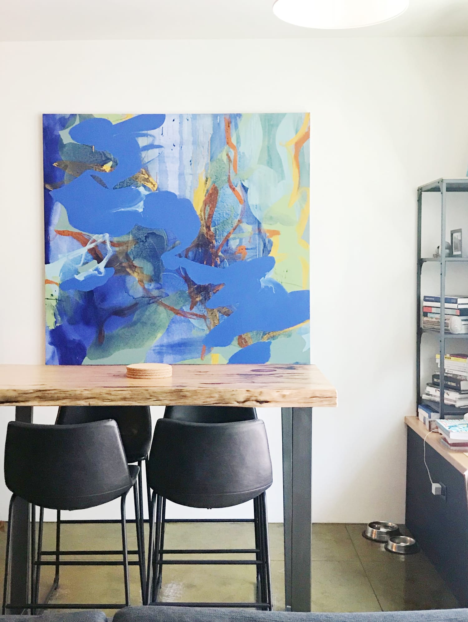Blue with yellow abstract painting