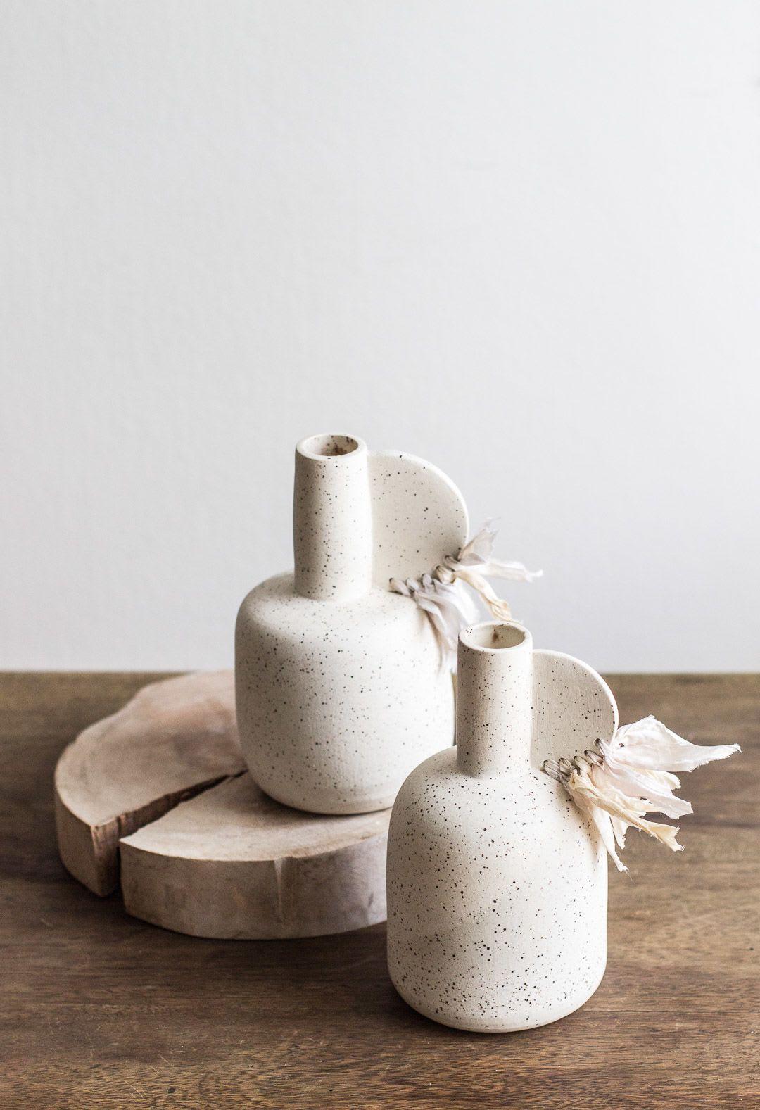 White speckled ceramic vases