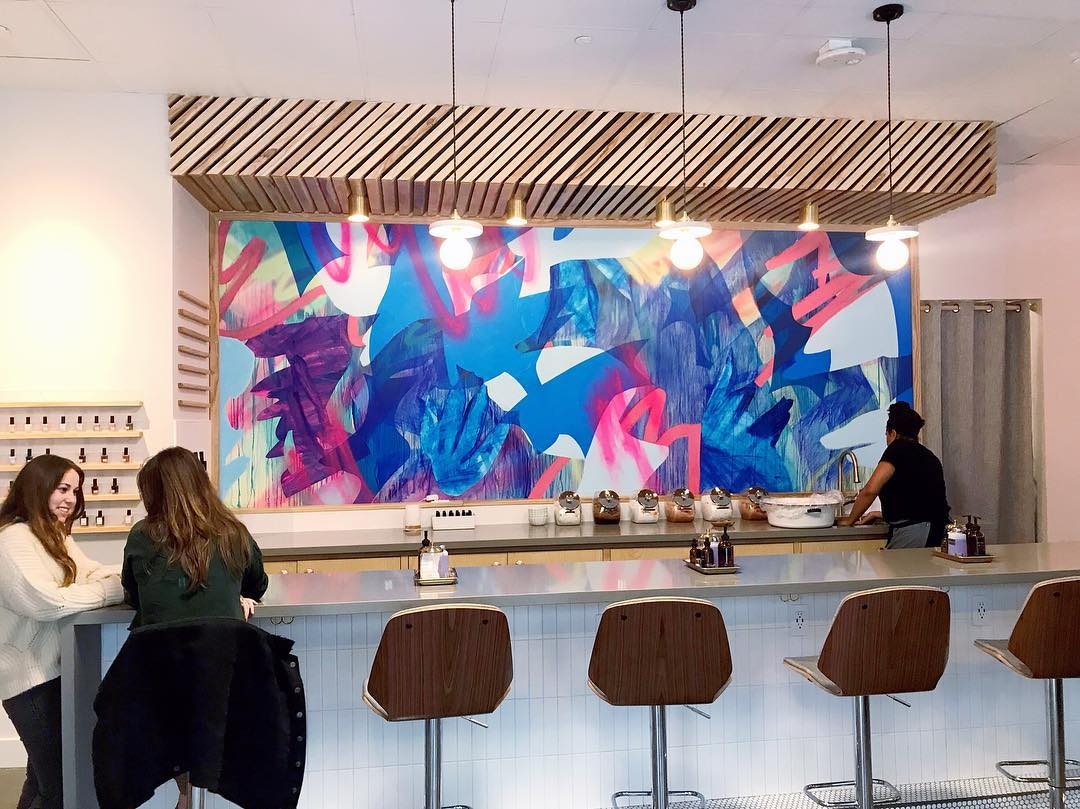 Blue and pink indoor mural