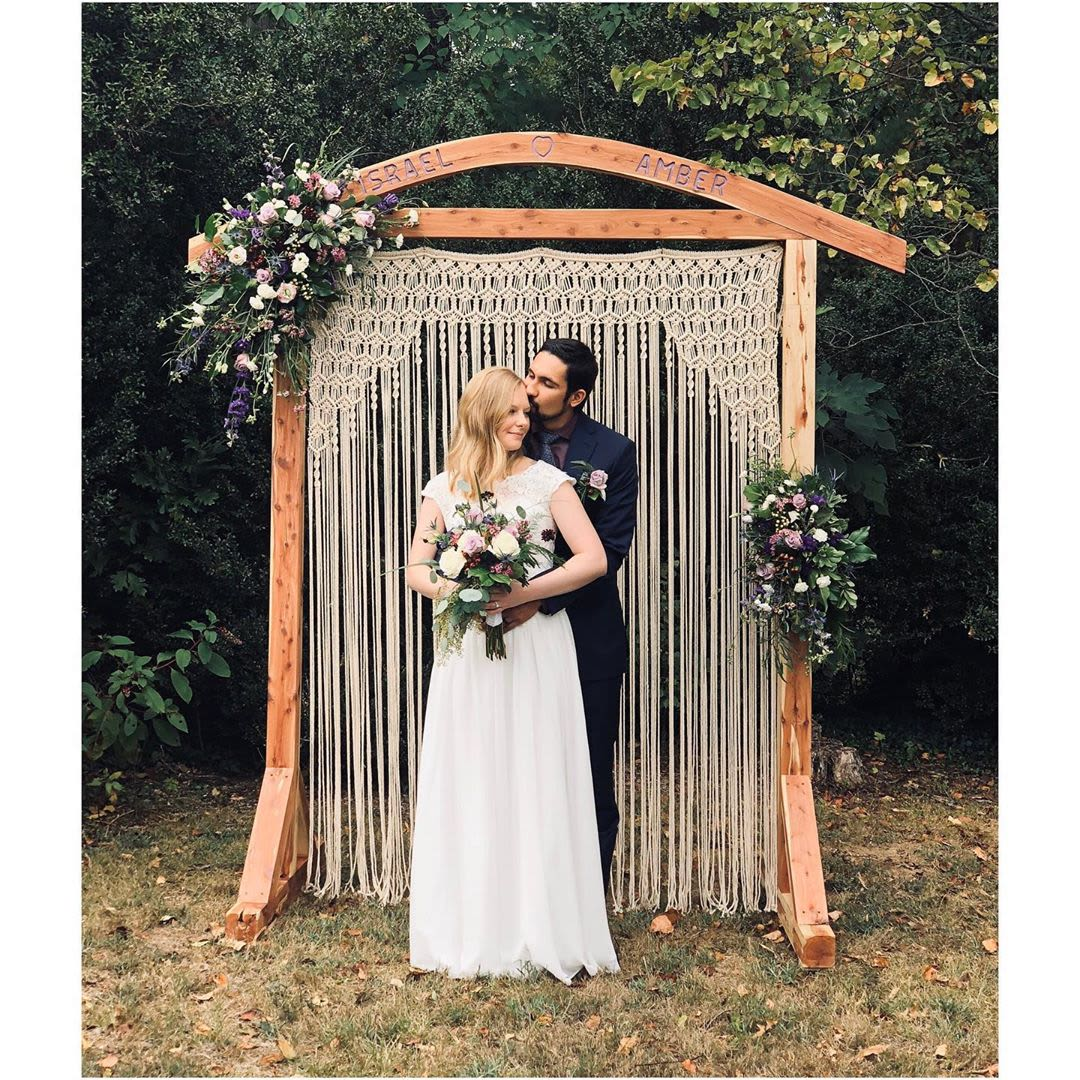 White macrame wedding arch