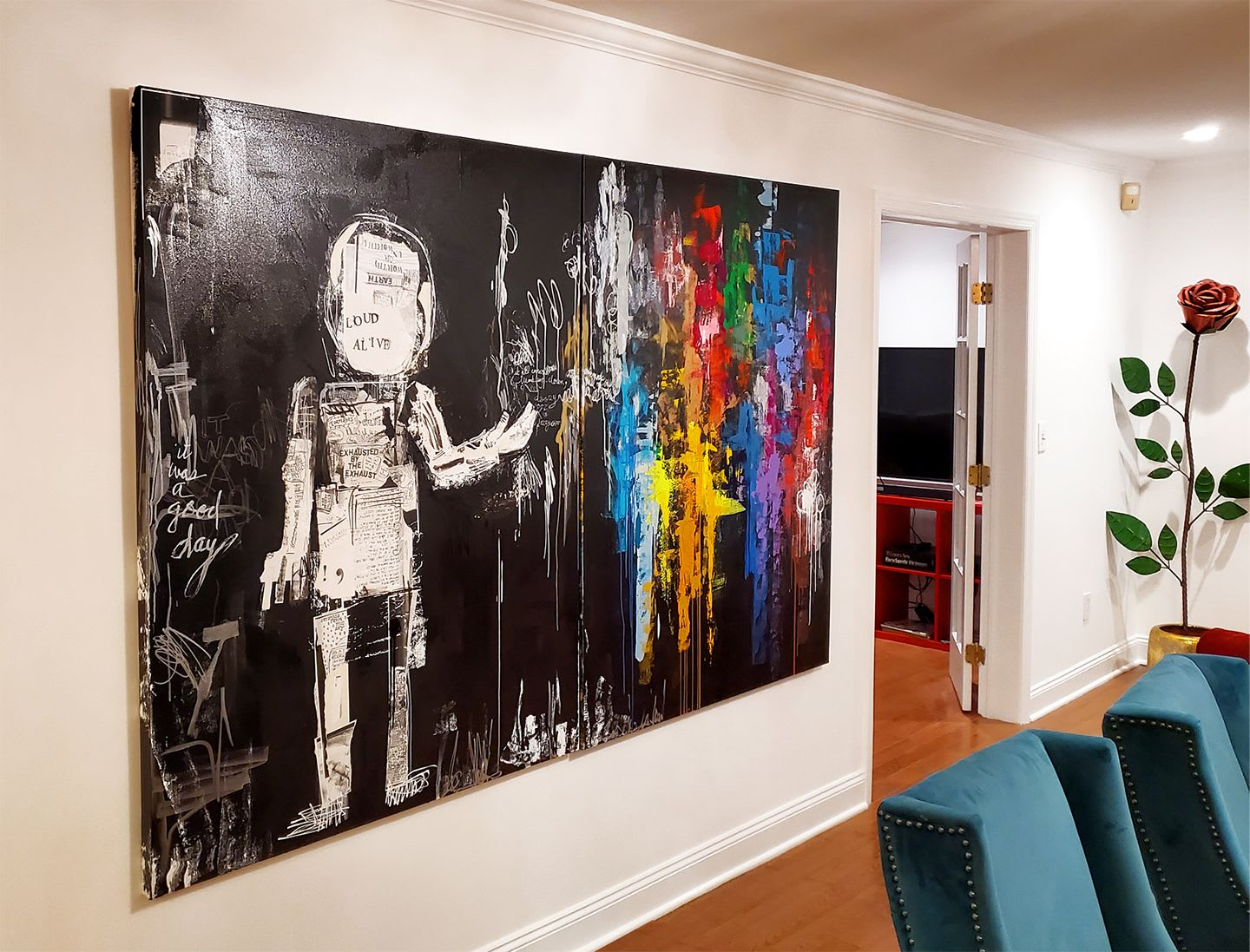 Black and rainbow abstract painting with figure