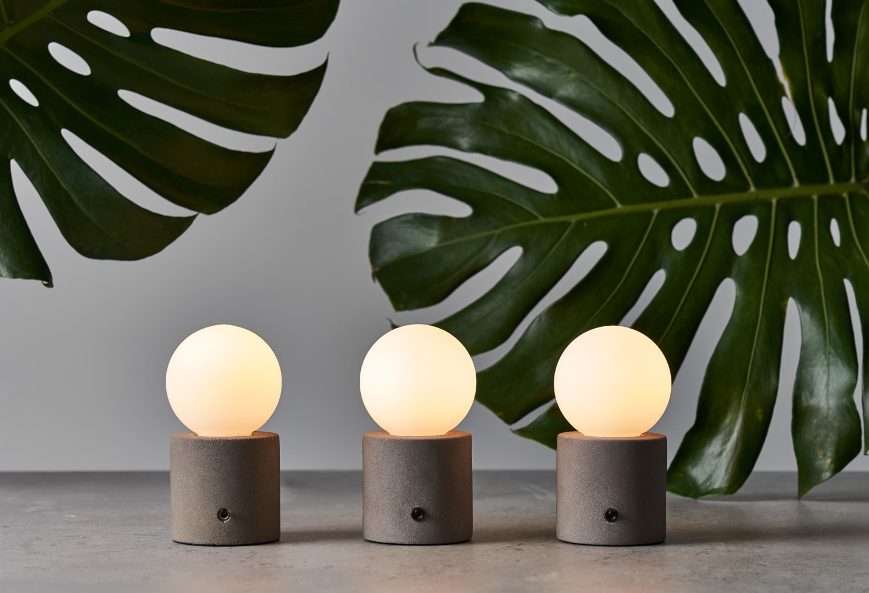 Trio of simple globe lamps
