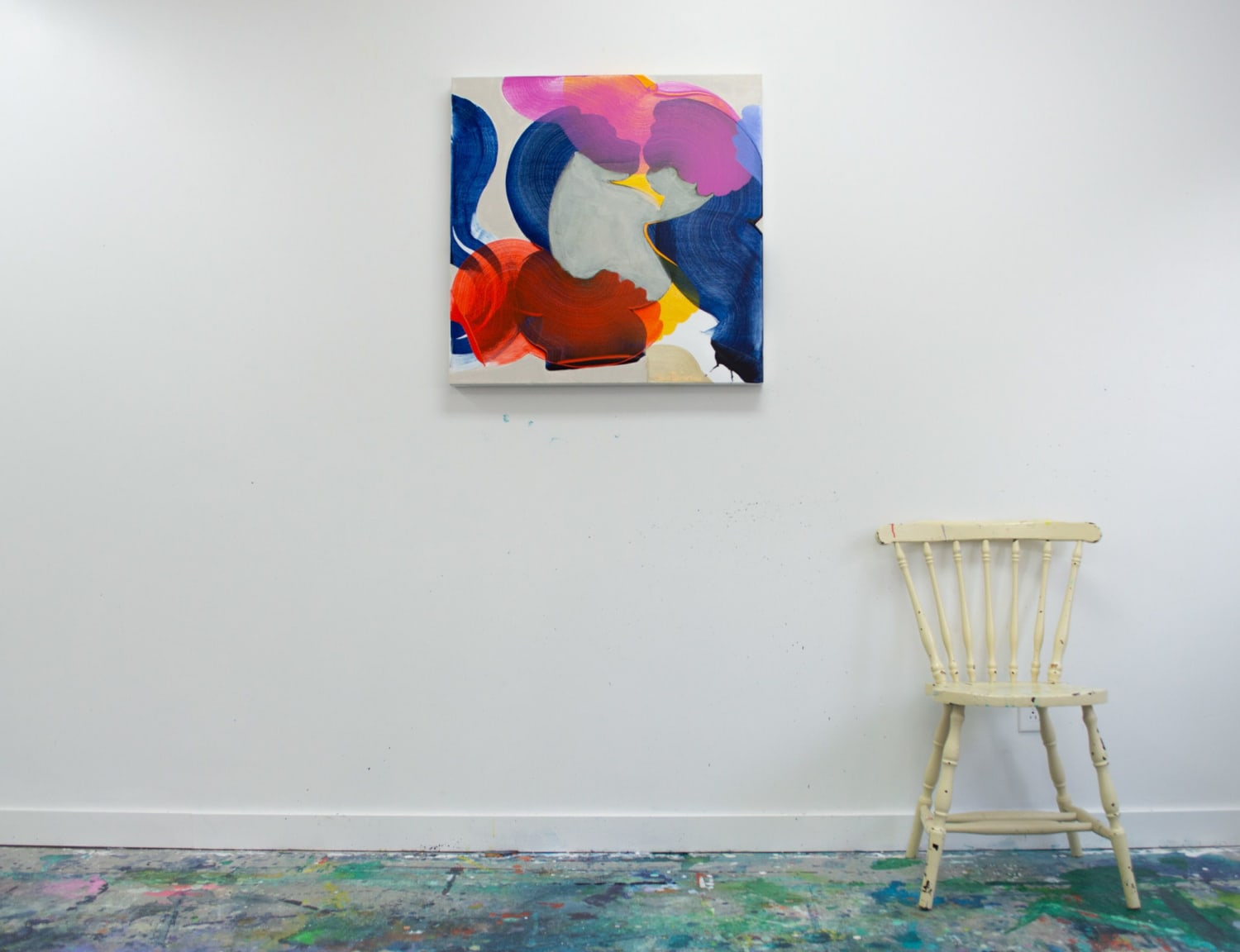 Pink, blue, and red abstract painting