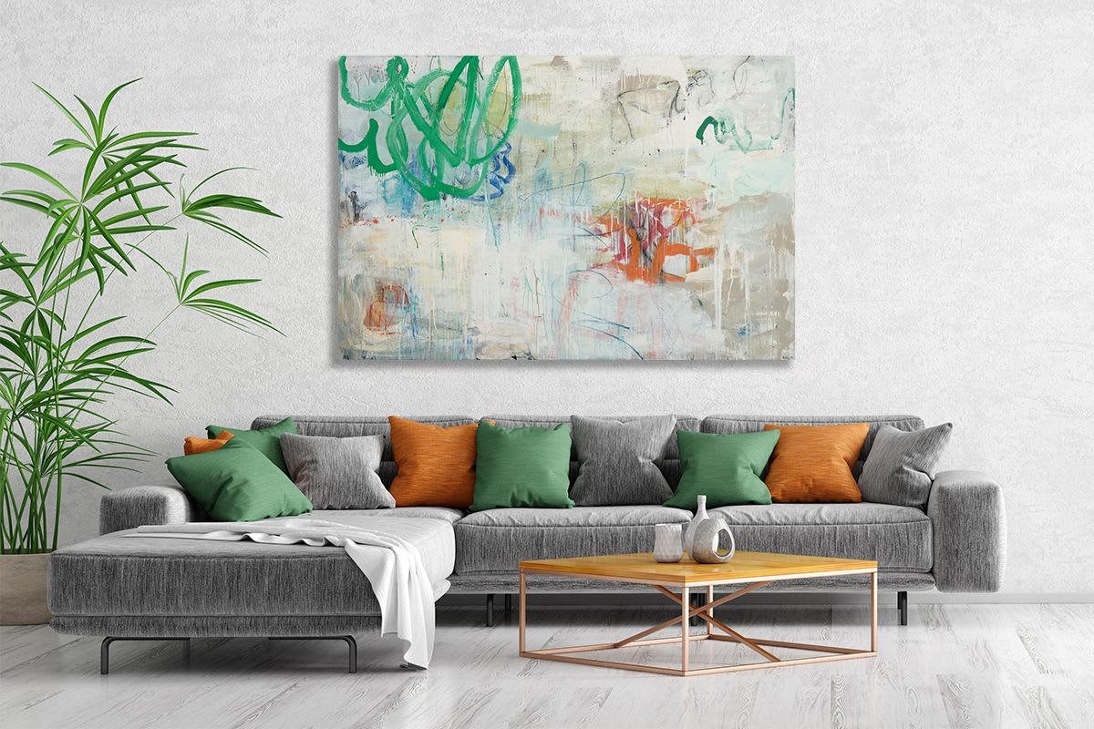 Green and orange mixed media abstract painting