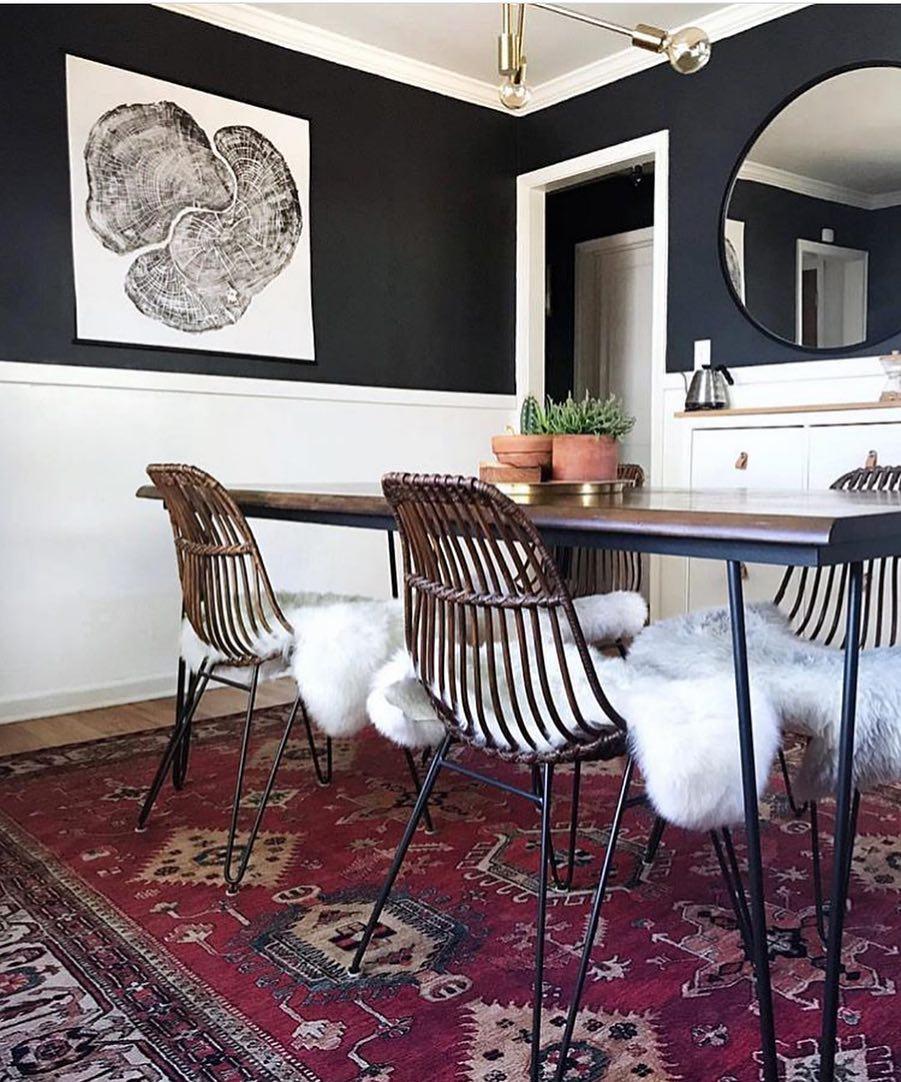 Black ink tree ring print in modern home